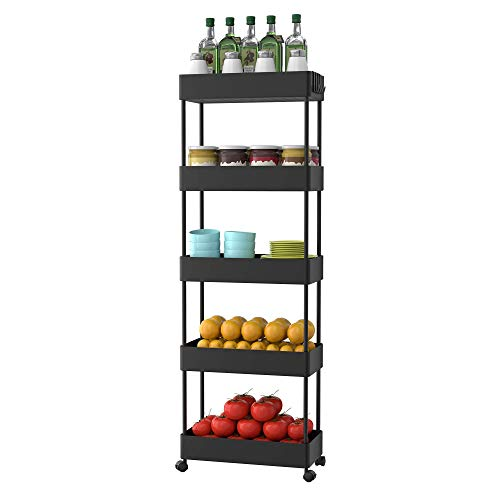 SOGA Life 5 Tier Slide Out Storage Cart for Kitchen Slim Rolling Utility Cart Mobile Shelving Unit Organizer for Laundry Room Bathroom Narrow SpaceBlack