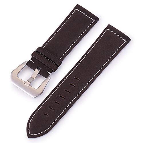 Correa de reloj de cuero 18 mm 20 mm 22 mm 24 mm Reloj de correa de línea gruesa hecho a mano esmerilado-Brown_24mm