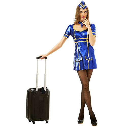 Sexy Flight Attendant Women's Halloween Costume - Airline Stewardess (Large)