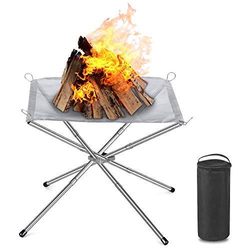 Valuetom Feuerschale Outdoor, Tragbare Feuerstellen Feuerkorb Feuerschalen für den Garten Camping, Feuerstelle mit Faltbarem Edelstahlnetz und Tragetasche, 43 x 43 x 34 cm