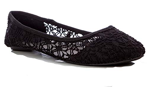Charles Albert Women's Breathable Crochet Lace Slip-On Ballet Flat in Black Size: 8