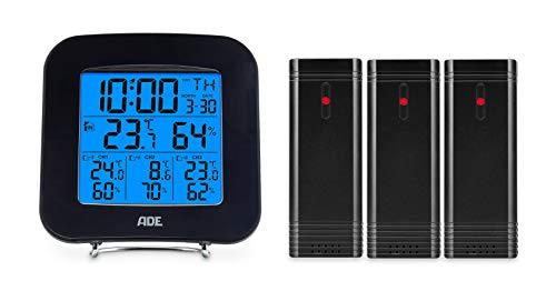 ADE Digitales Thermo-Hygrometer WS 1823 (mit 3 Funk-Sensoren, präzise Anzeige von Temperatur und Luftfeuchtigkeit, Uhr mit Datum und Wecker) schwarz