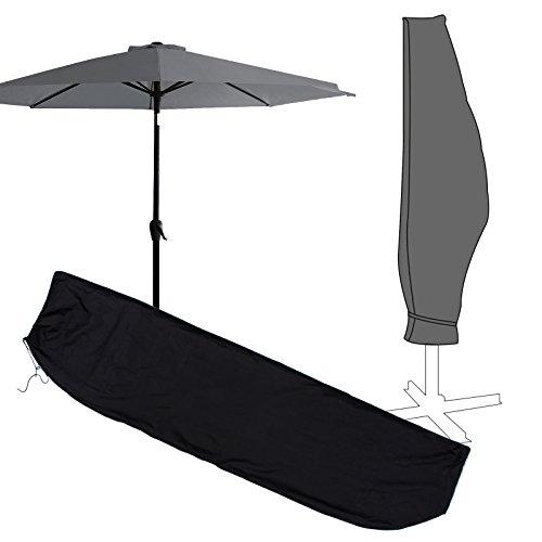 Housse de Protection Parasol Exterieur Plage Jardin a Glissiere Impermeable Noir Résistant à UV 265cm 250cm 70cm/205cm 180cm 40cm