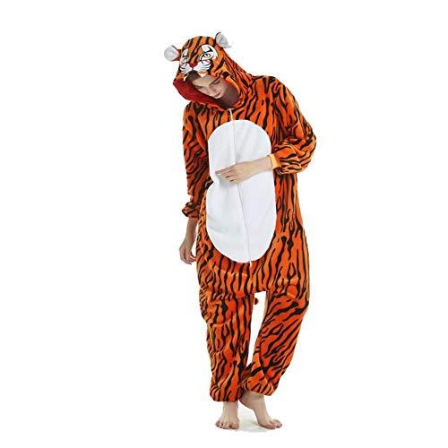 FZH Pijama Kigurumis, Pijama de una Pieza para Adultos, Monos de Elfos de Animales, Pijama Divertido, Ropa de Dormir Unisex, Ropa de casa, Traje de Pijama para Mujer-Tigre_L