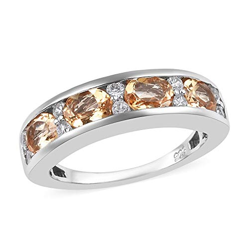 TJC Half Eternity Imperial Topaz Ring for Women Platinum Plated 925 Sterling Silver Cambodian Zircon, 2 Ct Size O