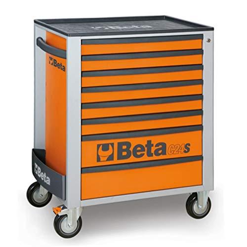 Beta C24S/8 Werkzeugwagen mit acht Schubladen, leerer Werkstattwagen für Werkzeug (großer Werkzeugkasten auf Rollen, mit hochwiderstandsfähiger ABS-Arbeitsplatte, mit Zentralverriegelung), Orange