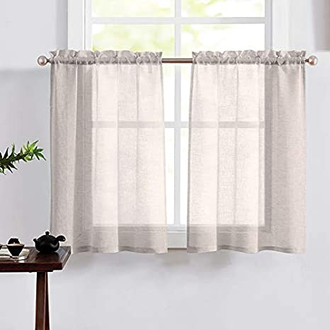 Amazon Com Fragrantex Linen Kitchen Curtains 36 Inch Length For Small Windows Linen Textured Tier Curtains Half Window Cafe Curtains Window Treatment 30 W X 36 L 2 Panels Rod Pocket Home Kitchen