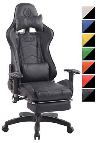 CLP Poltrona Gaming Massaggiante Turbo XFM in Similpelle I Sedia Racing Ergonomica Riscaldabile con Massaggio + 2 Cuscini E Poggiapiedi Nero_Nero