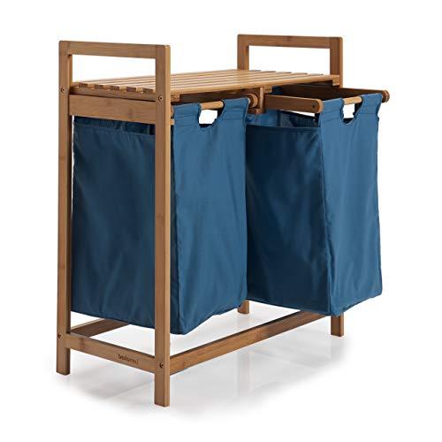 Lumaland Wäschekorb aus Bambus, mit 2 ausziehbaren Wäschesäcken, ca. 73 x 64 x 33 cm Blau