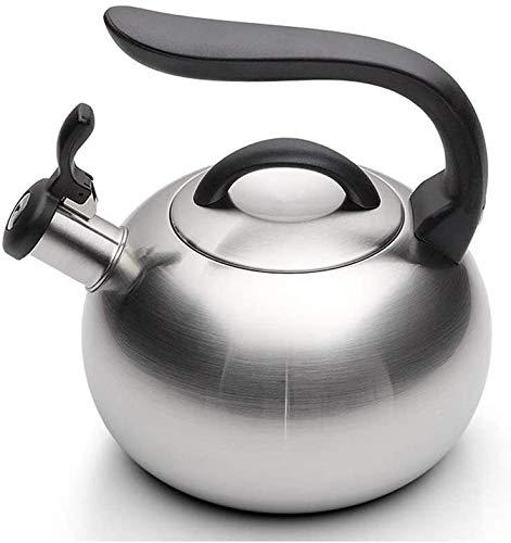 Conveniente Kettle de Silbato 304 Hervidor de Acero Inoxidable Cocina de inducción de Gases de Gas Universal Tea Kettle 3L Silver 15x12cm UOMUN
