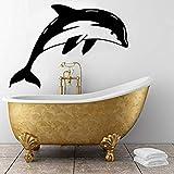 Pegatinas de pared 60X44 cm Buceo Delfín Etiqueta de la pared Extraíble Animal Decoración para el hogar PVC Papel tapiz hueco para baño Decoración del hogar