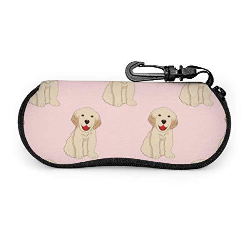 sherry-shop Étui à lunettes de soleil Labrador Golden Retriever Dog Travel Soft Neoprene Zipper Eyeglass Bag