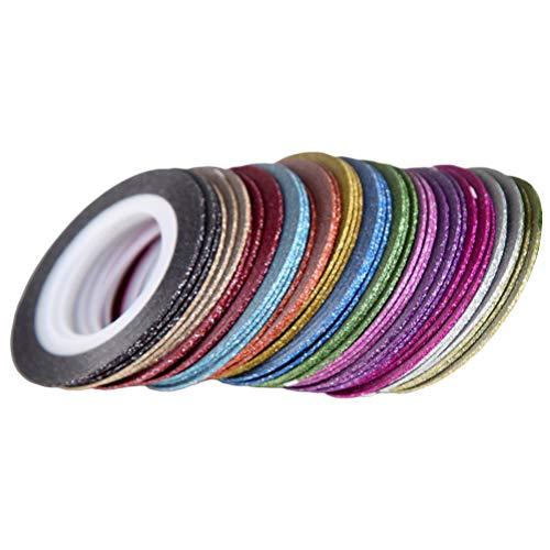Beaupretty Striping Tape for Nail Art Ligne Étroite Mix Couleur Rolls Nail Autocollant Ligne DIY Décorations Pour Ongles Paillettes 52 Rouleaux
