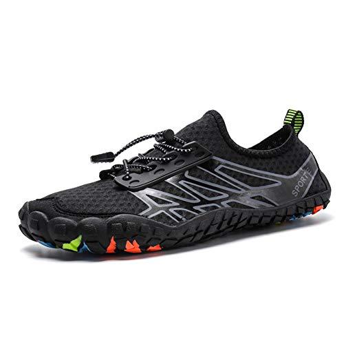 Parcclle Zapatos de agua para hombre y mujer, de verano, para playa, natación, surf, secado rápido, ligeros, antideslizantes, 1035, color Negro, talla 38 EU