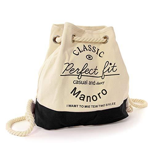 Manoro Damen Handtasche Beuteltasche Rucksack Tasche weiß schwarz Canvas OTK216S Canvas Handtasche