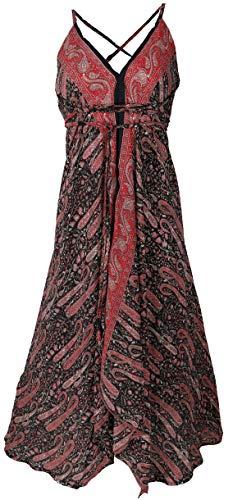 Guru-Shop Boho Sommerkleid, Magic Dress, Maxirock, Midikleid, Wandelbares Strandkleid, Damen, Schwarz/rot, Synthetisch, Size:40, Lange & Midi-Kleider Alternative Bekleidung