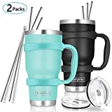 30oz Tumbler, 2 Packs Stainless Steel Double Wall Vacuum Insulated Tumbler Travel Mug With 10Pcs Reusable Straw, 2Pcs Slider Lid, Cleaning Brush, 2Pcs Handles (Black + Teal)