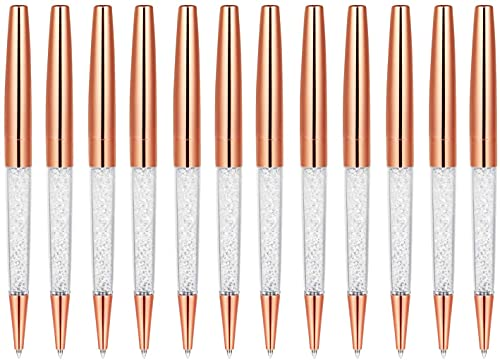 Weimay 12 Pack MengRan Rose Gold Pen Diamond Crystal Ballpoint Pens
