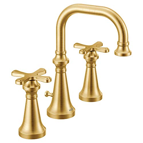 Moen TS44103BG Colinet Traditional Two Widespread High-Arc Bathroom Faucet with Cross Handles Valve...