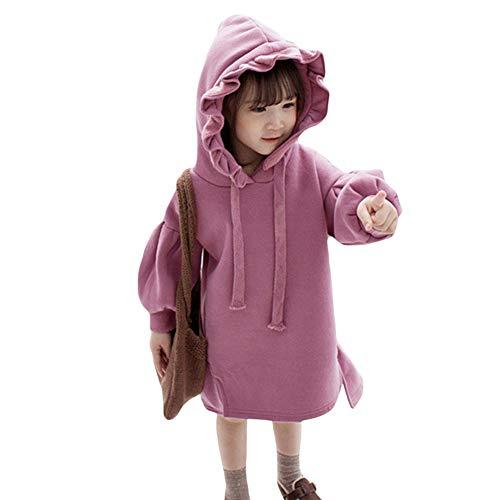 Gyratedream hoodies pullover jurk kleine kinderen baby fleece solide geplooide dikke warme pullover lantaarn mouwen topkleding kinderen meisjes XX-Large paars