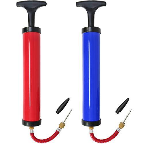 com-four® 2X Hand-Pumpe mit verschiedenen Adaptern, Ball-Pumpe in schwarz, rot und blau, Luft-Pumpe für Fahrrad-Reifen und Bälle (02 Stück - Farbauswahl variiert)