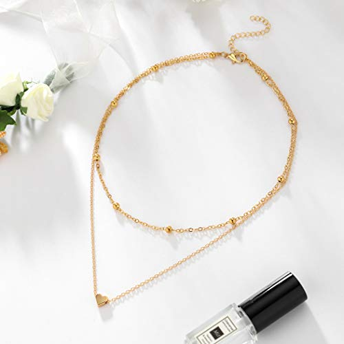 Jovono Layered Heart Pendant Necklace Beaded Choker Necklaces Jewelry for Women and Girls (Gold)