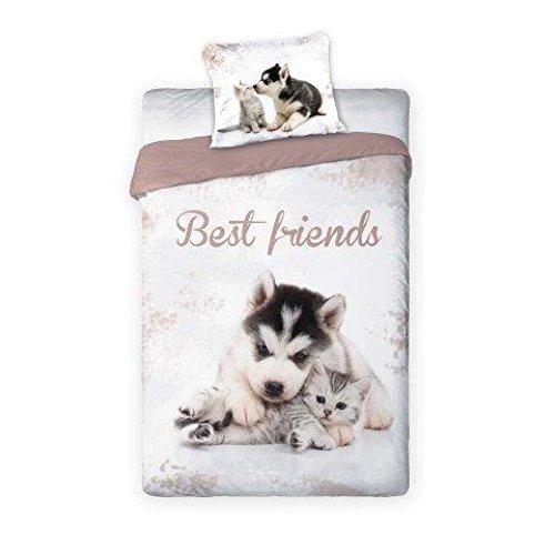 Unbekannt Ropa de cama reversible con animales babys cachorros, perro y gato, tamaño: 140 x 200 cm, 70 x 90 cm, 100% algodón