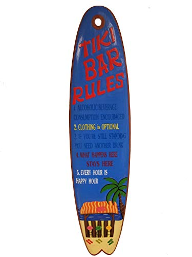 """All Seas Imports Custom Unique 39.5"""" Handcarved and Painted Wood Tiki Bar Rules Surfboard"""