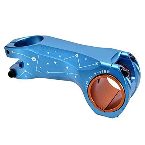 WAZDV Bicicleta Tallo Parte montaña Carretera Bicicleta vástago Ultraligero vástago 35 mm 31,8 mm Manillar vástago de 17 Grados 90 mm Bike Riser (Color : Blue)