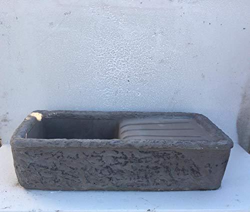 ARTISTICA GRANILLO LAVELLO in Cemento E Pietra LAVICA del Vesuvio, LAVABO, Fontana, Misure: 80x40 H20 CM.