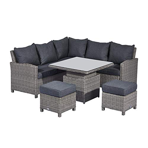 Nova Outdoor Living - Ciara Compact Rattan Corner Sofa Dining Set with Rising Table - White Wash