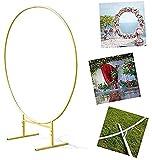 Arco de boda accesorios de arco de hierro para el césped, seda artificial marco de flores listones, anillo de hierro para boda, accesorios de fondo, anillo de 2,5 m, oro