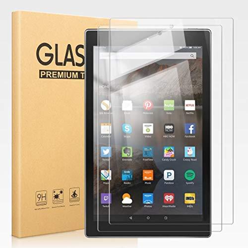 Pnakqil [2 Pezzi] Pellicola Protettiva per Amazon Kindle Fire HD 10 (7ª / 9ª Generazione) 10,1 Pollici Tablet Vetro Temperato Pellicola Protettiva Schermo con Durezza 9H Anti-graffio Pellicola