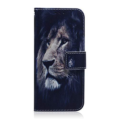 Sunrive Hülle Für Huawei Ascend Mate 7, Magnetisch Schaltfläche Ledertasche Schutzhülle Etui Leder Hülle Cover Handyhülle Tasche Schalen Lederhülle MEHRWEG(T Löwe)
