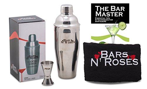 Professional SST Cocktail Shaker Set Bundle w/ Jigger, Bar Towel and Recipes/ Bartender Tool/ Martini Bar Kit