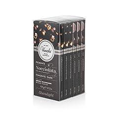 Idea Regalo - Venchi Kit Tavolette Chocolight Fondente 75%, 600g - Cioccolato Fondente Senza Zuccheri Aggiunti, con Nocciole Piemonte I.G.P Intere - Set di 6 - Senza Glutine