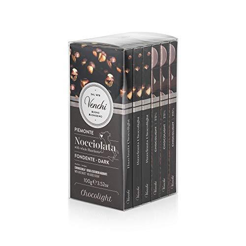 Venchi Kit Tavolette Chocolight Fondente 75%, 600g - Cioccolato Fondente Senza Zuccheri Aggiunti, con Nocciole Piemonte I.G.P Intere - Set di 6 - Senza Glutine