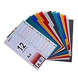 STOBOK A4 Dividers colores Separadores de índice index tab para carpeta y cuaderno, divisores mensuales, 1 juego