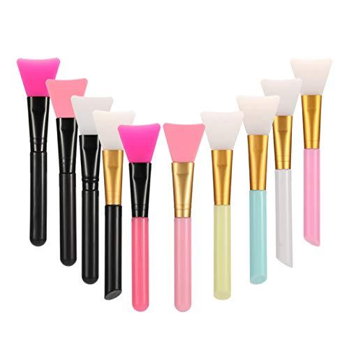 Riky goed uitziende 10 stks gezichtsmasker borstel, masker borstel siliconen cosmetische borstel modder masker borstel DIY make-up gereedschap set