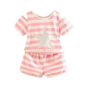 LittleSpring夏 キッズ 女の子 半袖 セットアップ ボーダー柄 肩出し Tシャツ&ショートパンツ リラックス ホームウェア 部屋着 運動着 ピンク140