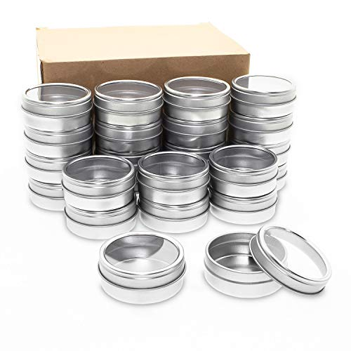 Mimi Pack 24 Pack Tins 4 oz Shallow Round Tins with Clear Window Lids Empty Tin Containers Cosmetics Tins Party Favors Tins and Food Storage Containers (Silver)