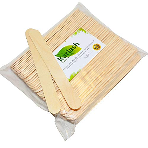 Karlash 100 Pieces Large Wax Sticks Wood Waxing Craft Sticks Spatulas Applicators for Hair Removal Eyebrow and Body