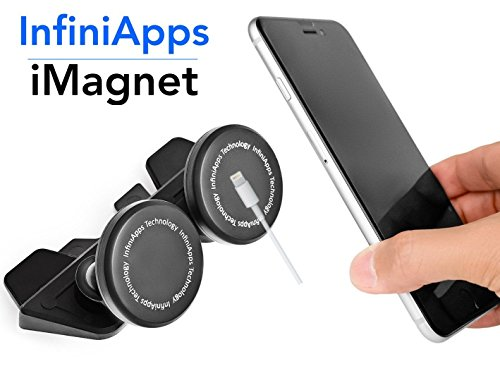 [Maker of iMagnet] Car Mount, infiniapps DuoMount [Magnetic Mount]. The Original, Best Patented CD Slot Mount, All Generations of iPhones, All Galaxy Phones, All Galaxy Tablets and iPads