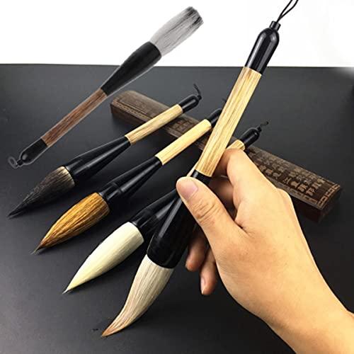 5 estilos chino caligrafía cepillo pluma pelo cabra bambú eje pintura cepillo arte estacionario pintura al óleo cepillo predeterminado