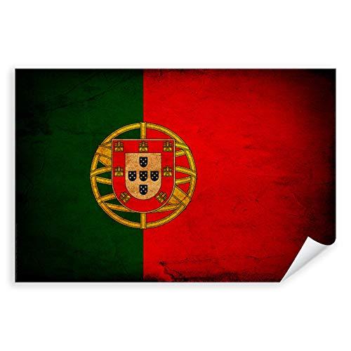 Postereck - 0288 - Vintage Flagge, Fahne Portugal Lissabon - Unterricht Klassenzimmer Schule Wandposter Fotoposter Bilder Wandbild Wandbilder - Leinwand - 100,0 cm x 75,0 cm