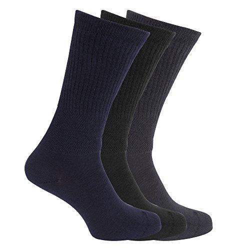 Universaltextilien Herren Extra Breite Komfort Fit Socken (3 Paar) (39-45 EU) (Marineblau/Schwarz)