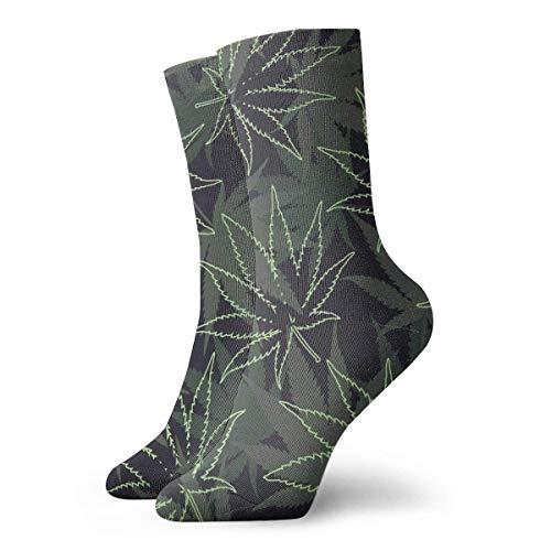 Calcetines unisex de Marihuana Ganja Weed clásicos, transpirables, para correr al tobillo, senderismo, deportes de fin de semana, calcetines cortos de 30 cm