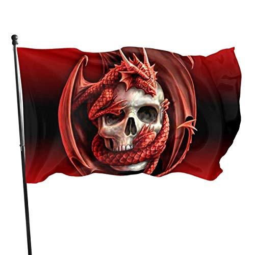 Roman Lin Welcome Gartenflagge,Politische Flaggen,Garten Fahne Vertikal,Willkommensflagge,Roter Drache Und Schädel Hausgarten-Flaggen,Außenbanner,3X5 Ft,Haushof-Dekoration