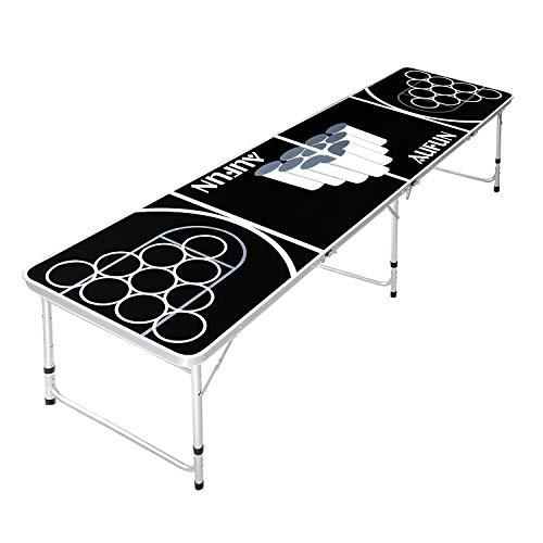 HENGMEI Beer Pong Tisch Set Klappbarer Audio Table Design Wurfspiele Kratz- und Wassergeschützt für den Sommer & Festival Partyspiele Trinkspiele