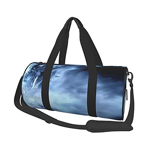 Bolsa de viaje azul abstracta ligera suave durable de gran capacidad portátil cilíndrica deportes entrenamiento bolsa ocio bolsa de viaje